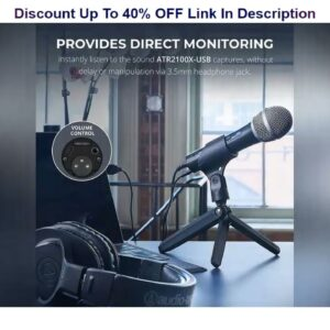 Limited Audio-Technica ATR2100x-USB Cardioid Dynamic Microphone for Voiceover, Podcasting and Studi