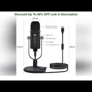 ✓ USB Microphone, Condenser Gaming Mic with Monitor Headphone Jack, PC Podcast Mic for Recording St