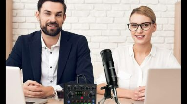 Podcast Equipment Bundle, Live Streaming Audio Interface with DJ Mixer ALL-IN-ONE Sound Mixer