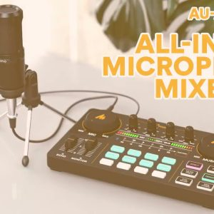 Podcast Equipment Bundle, Audio Interface with DJ Mixer Sound Mixer All-in-ONE